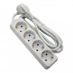 Hosszabbító, 4 aljzat, 5 méter, kábel 3x1.5, max 16A, fehér, Strohm