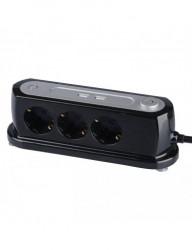 Hosszabbító vezeték, irodához, 3 aljzat + 2 USB 5V 2.4A, V-TAC