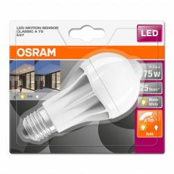 LED izzó és mozgásérzékelő, 11W (75W), Osram, meleg fény