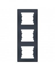 Sorolókeret 3 modul, függőleges, IP20, grafit, Schneider Sedna