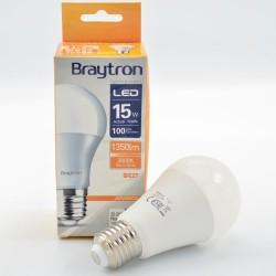 15W-os A60 E27 led izzó, Braytron, meleg fény