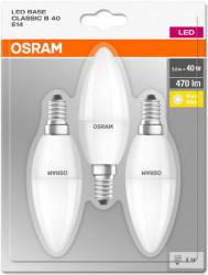 3 db LED-es izzó, gyertya alakú, E14, 5W (40W), meleg fény, 470 lm, A +, Osram