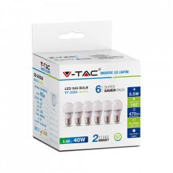 6 db LED-es izzó, gömb alakú, E27, 5,5 W (40 W), hideg fény, 470 lm, A +, V-TAC