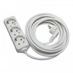 Hosszabbító, 3 aljzat, 5 méter, kábel 3x1.5, max 16A, fehér, Strohm