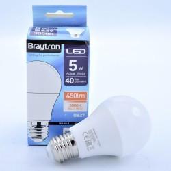 LED izzó 5W A60 E27, Braytron, meleg fény