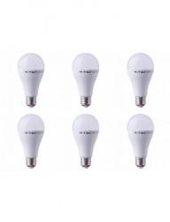 Set 6 becuri led E27, 15W(90W), lumina calda, 2700K, 1350 lm, A+, V-TAC