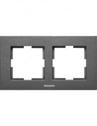 Sorolókeret 2 modul, vízszintes, IP20, grafit, Panasonic Arkedia Slim