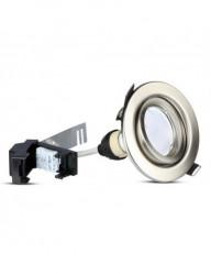 3db kerek spotlámpa + GU10 5W-os izzó tartozék, természetes fehér fény, állítható, króm, IP20, V-TAC