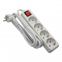 Hosszabbító, 4 aljzat, 3 méter, kábel 3x1.5, max 16A, kapcsolóval, fehér, Strohm