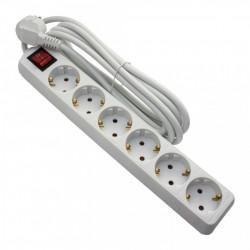 Hosszabbító, 6 aljzat, 5 méter, kábel 3x1, max 10A, kapcsolóval, fehér, Strohm