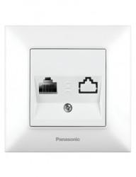 Kettős internetes aljzat, RJ45, Cat5E, IP20, fehér, Panasonic Arkedia Slim