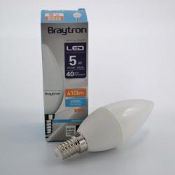 LED gyertya izzó 5W C37 E14, Braytron, hideg fény
