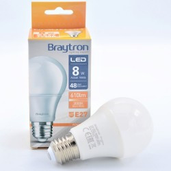 LED izzó 8W A60 E27, Braytron, meleg fény