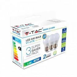 Set 3 becuri led E27, 5.5W (40W), lumina naturala (4000K), 400 lm, A+, V-TAC