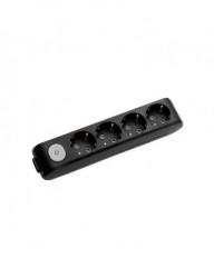 Tápegység blokk 4 aljzat + kapcsoló, X-tendia Panasonic, fekete