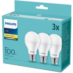 3 db LED-izzó készlet Philips, E27, 13W (100W), 1521 lm, A +, meleg fény (2700K)