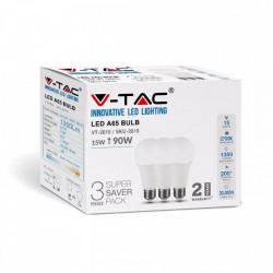 Három LED-es izzó készlet, E27, 15W (90W), meleg fény, 2700K, 1350 lm, A +, V-TAC