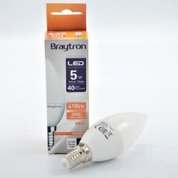 LED gyertya izzó 5W C37 E14, Braytron, meleg fény