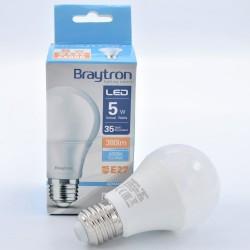 LED izzó 5W A60 E27, Braytron, hideg fény