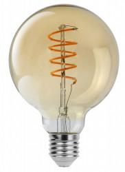 Vintage LED izzó, sodrott Szál, G95, 4W (28W), 300 lm, arany, Rabalux