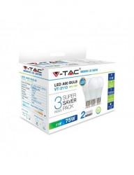 3 db V-TAC LED izzó, E27, 11W (75W), 1055 lm, A +, meleg fény