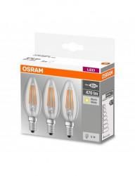 3 db Vintage LED izzó, E14, 4W (40W), 470 lm, A ++, Osram