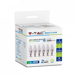 6 led-es izzó, E14 gyertya, 5,5 W (40 W), 470lm, A +, természetes fehér fény, V-TAC