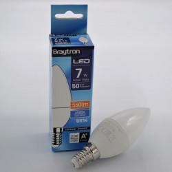 LED gyertya izzó 7W C37 E14, Braytron, hideg fény