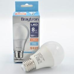 LED izzó 8W A60 E27, Braytron, hideg fény