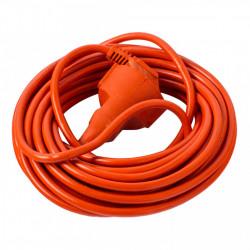 Prelungitor fisa+priza, 30 metri, max 10A, cu intrerupator, portocaliu, Strohm