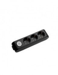 Tápegység blokk 3 aljzat + kapcsoló, X-tendia Panasonic, fekete