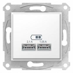 USB 2.1A kettős aljzat, fehér, Schneider Sedna