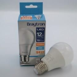12W-os A60 E27 led izzó, Braytron, hideg fény