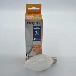 LED gyertya izzó 7W C37 E14, Braytron, meleg fény