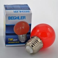 LED izzó, 1W piros E27, Braytron
