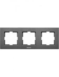 Sorolókeret 3 modul, vízszintes, IP20, grafit, Panasonic Arkedia Slim