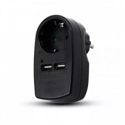 V-TAC dugó 2 USB-vel, 2,1 A, fekete