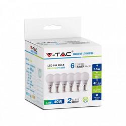 6 db LED-es izzó, gömb alakú, E14, 5,5 W (40 W), meleg fény, 470 lm, A +, V-TAC