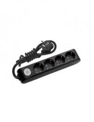 Hosszabbító, 4 aljzat 1,5 méter + kapcsoló, X-tendia Panasonic, fekete