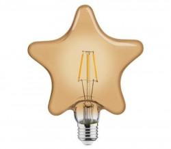 LED csillag izzó, Vintage, E27, 6 W (48 W), meleg fény, A +