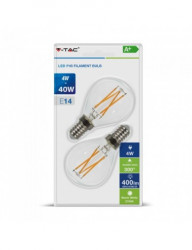 2 db LED-izzó V-TAC, E14, P45, 4W (40W), 400 lm, A +, meleg fény