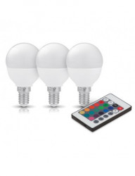 3db LED-es izzó készlet, E14, RGB + 3000K, távirányítóval, 3,5 W (20 W), 200 lm, A +, Kobi