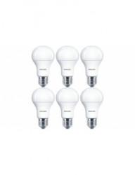 6 db Philips LED-es izzó, E27, 11W (75W), 1055 lm, A, meleg fény