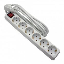 Hosszabbító, 6 aljzat, 1.5 méter, kábel 3x1.5, max 16A, kapcsolóval, fehér, Strohm