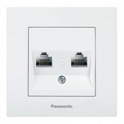 Kettős számítógép-foglalat, cat 6, Karre Plus Panasonic, ST, fehér