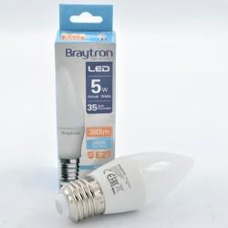 LED gyertya izzó 5W C37 E27, Braytron, hideg fény