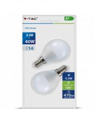 2 db izzó, led, gömb alakú, E27, 5,5 W (40 W), természetes fehér fény, 470 lm, A +, V-TAC