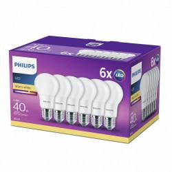 6 db Philips E27 izzó, 5,5 W (40 W), 470 lm, A +, meleg fehér fény