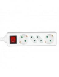 Hosszabbító kábel, 4 aljzat 1,5 méter, 3x1,5 kábel, kapcsolóval, fehér, V-TAC