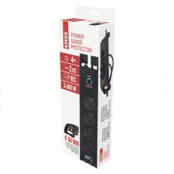Hosszabbító kábel túlfeszültség-védelemmel és TV kábelel, 2 méter, 4 aljzat földeléssel, 3x1,5 kábel, Emos